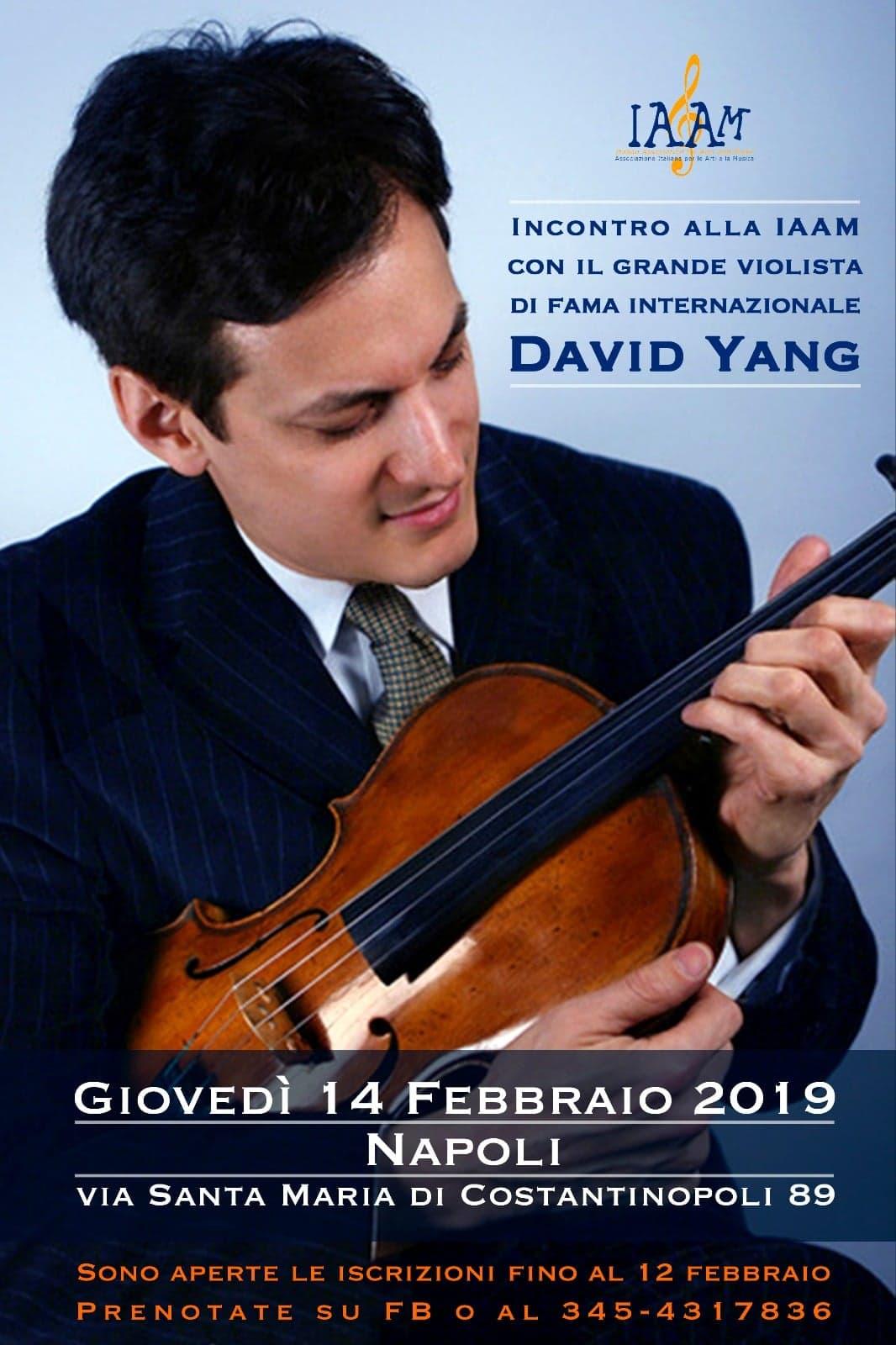 David Yang il 14 febbraio a Napoli per un incontro dedicato alla musica