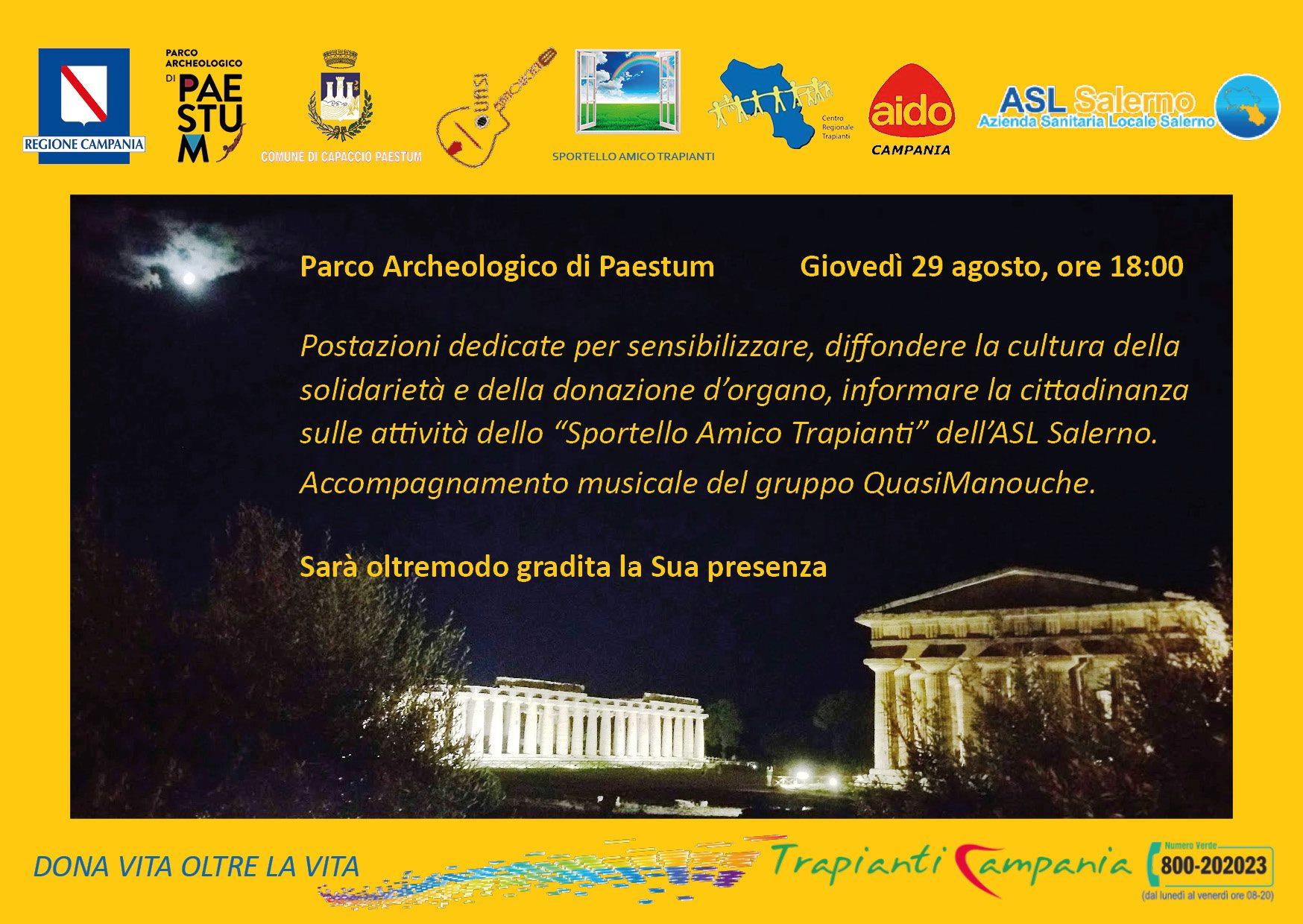 Paestum: arte e musica per parlare del trapianto di organi