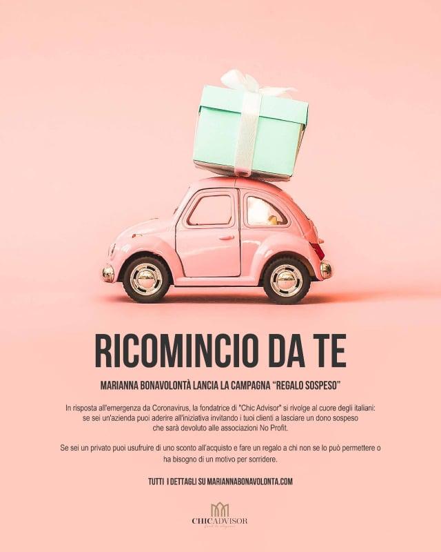 """""""Ricomincio da te"""": il regalo sospeso…. Un'iniziativa di Marianna Bonavolontà!"""