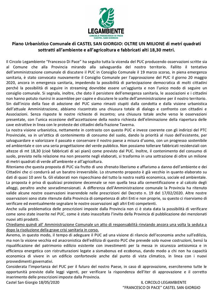 Castel San Giorgio- nuovo intervento di Legambiente sul Puc
