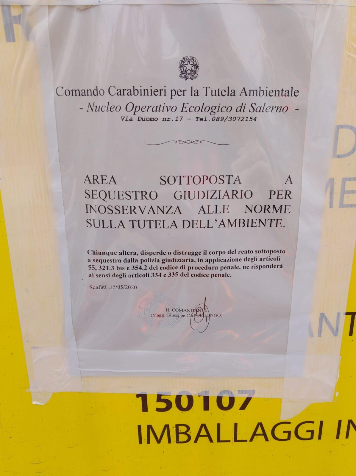 Scafati – sequestrata l'isola ecologica Acse di via Catalano