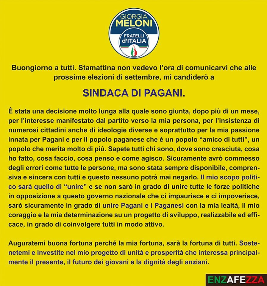 Pagani: il centro-destra ha già due candidate a Sindaco