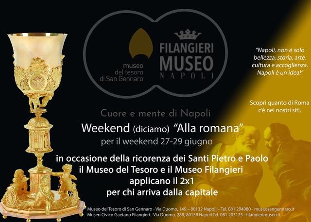 Vieni a Napoli per il ponte di S. Pietro e Paolo: al Museo del Tesoro di San Gennaro e al Filangieri paghi per uno ed entri in due