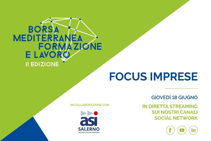 """""""Focus Imprese"""": domani 18 giugno in diretta streaming l'evento virtuale della Borsa Mediterranea della Formazione e del Lavoro"""