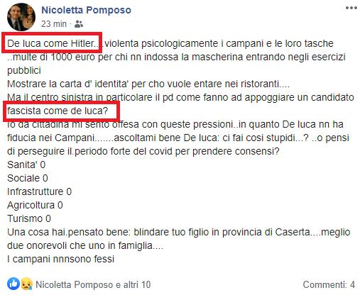 """De Luca come Hitler: lo scrive una """"caldoriana"""""""