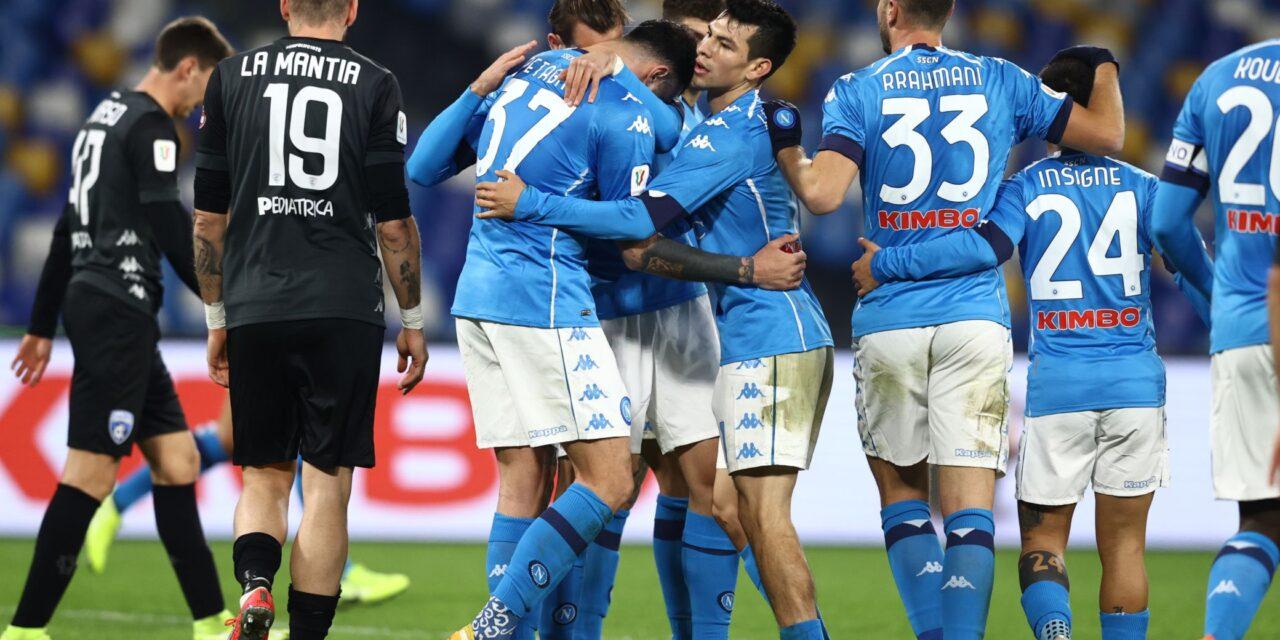 Coppa Italia, Napoli-Empoli 3-2: 18′Di Lorenzo (N), 33′ e 68′ Bajrami (E), 38′Lozano (N), 76′Petagna (N)