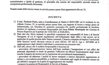 Arriva il nuovo comandante: altro impegno economico per Nocera Superiore – di Alfonso Esposito