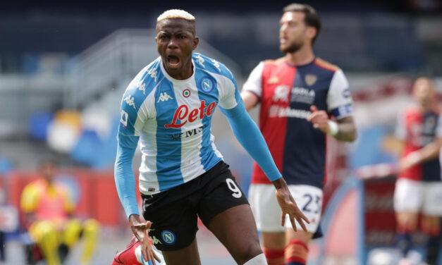 Napoli-Cagliari 1-1: Osimhen non basta, nel recupero pareggia Nandez